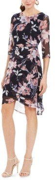 Connected Petite Ruched Floral-Print Sheath Dress