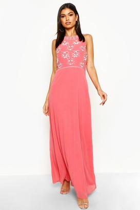 boohoo Floral Embellished Maxi Bridesmaid Dress