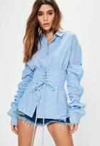 Missguided Blue Striped Corset Button Sleeve Oversized Shirt