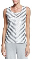 Joan Vass Chevron Sequined Shell, Petite