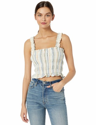 ASTR the Label Women's Twiggy Sleeveless Smocked Ruched CAMI Tank TOP