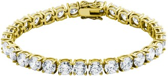Morgan & Paige Yellow Gold-Plated Silver Round Cut 6mm Cubic Zirconia Tennis Bracelet