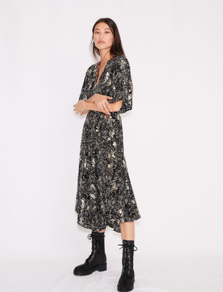 Maje Printed crepe sequin dress