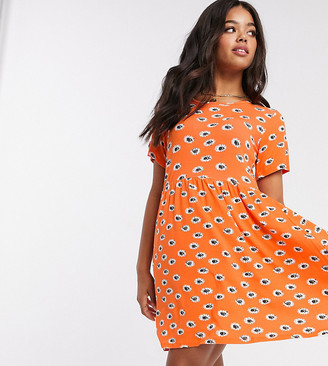 Wednesday's Girl mini smock dress in summer floral orange