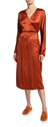 Vince Silk Long-Sleeve Wrap Dress