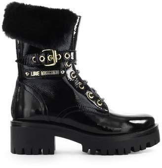 Love Moschino Black Fur Boots