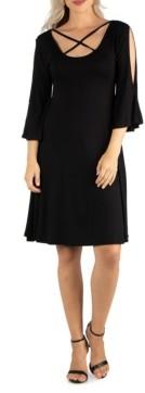 24seven Comfort Apparel Women's Knee Length Cold Shoulder Dress