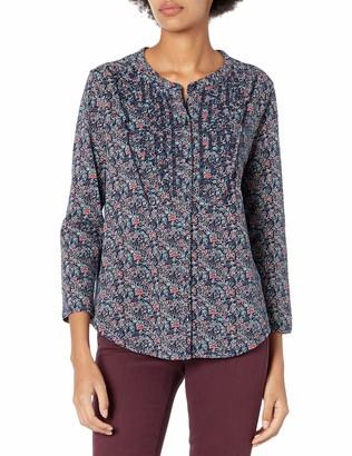 Lucky Brand Women's Long Sleeve Printed Eyelet Bib Button Through Shirt