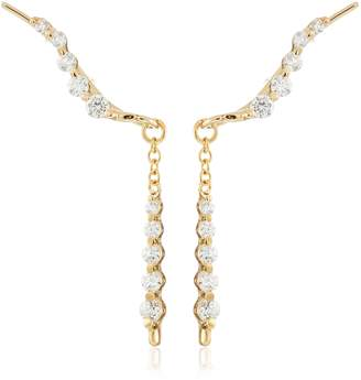 The Ear Pin 18k Gold Over Silver Cubic Zirconia Journey and Interchangeable Enhancer Earrings