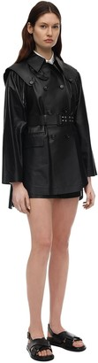 Sportmax Double Breasted Leather Jacket W/belt