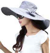 Siggi Womens Summer Floppy Cotton Beach Sun Hat Wide Brim Packable Reversible UPF 50+ Grey