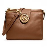 Michael Kors 32H1GFTC3L-230 Women's Large Fulton Pebbled Crossbody Brown Leather Shoulder Bag