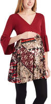 Glam Burgundy & Tan Abstract Three-Quarter Sleeve Maternity Tunic