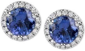Macy's Tanzanite (1-3/4 ct. t.w.) and Diamond (1/6 Ct. t.w.) Stud Earrings in 14k White Gold
