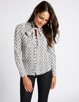 Marks and Spencer Geometric Print Bow Long Sleeve Shirt