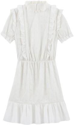 Balzac Paris X La Redoute Collections Guipure Lace Ruffled Puff-Sleeve Dress