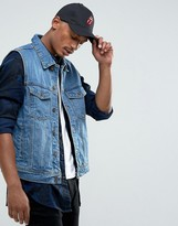 Bershka Sleeveless Denim Jacket In Mid Wash