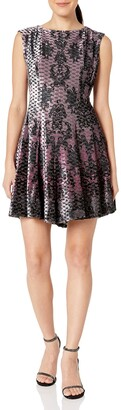 Gabby Skye Women's Petite Cap Sleeve Round Neck Chandelier Print Fit & Flare