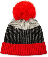 Neiman Marcus Zingy Knit Wool Hat, Black/White/Red