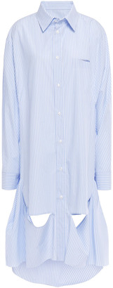 Maison Margiela Oversized Cutout Striped Cotton-poplin Shirt