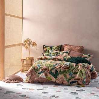 Linen House Costa Rica Tropical Cotton Quilt Cover Set Queen Bed Pink
