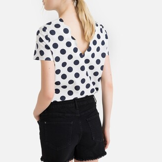 La Redoute Collections Polka Dot Scalloped Neck Cotton Blouse