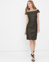 White House Black Market Off-The-Shoulder Black Jacquard Shift Dress