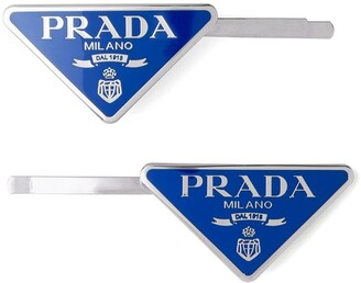 Prada Logo-Plaque Hair Slides