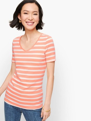 Talbots Cotton V-Neck Tee - Lunada Stripe