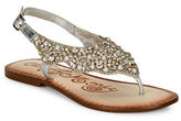 Naughty Monkey Embellished Leather Flat Sandals