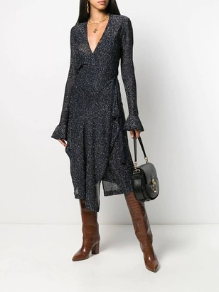 Chloé Navy Lurex Wrap Dress