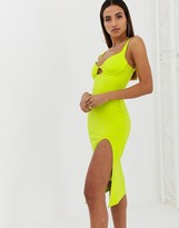 Parallel Lines bodycon midi dress with structured bralette