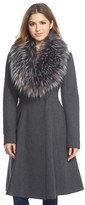 Vera Wang Women's 'Serena' Faux Fur Collar Wool Blend Fit & Flare Coat