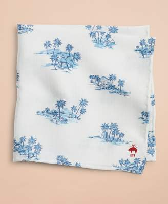 Brooks Brothers Silk-Blend Hawaii-Print Pocket Square