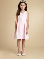 Oscar de la Renta Girl's Button-Front Linen Dress