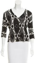 Tory Burch Abstract Print Wool Cardigan