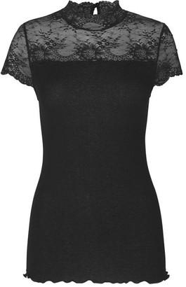 Rosemunde Bourgogne High Neck Top W Lace - Black / S