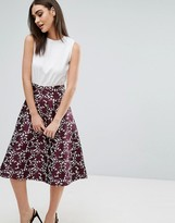AX Paris Midi Dress With Embroidered A Line Skirt