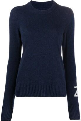 Zadig & Voltaire Source logo intarsia cashmere jumper