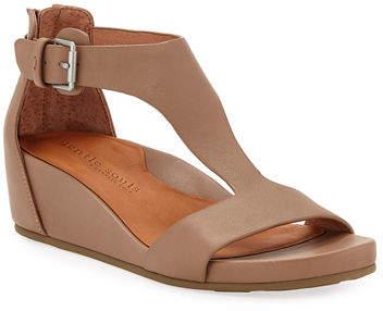 Gentle Souls Gisele Leather Demi-Wedge T-Strap Sandals
