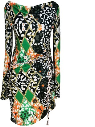 Angelika Jozefczyk Jersey Printed Dress With Decorative Binding Green