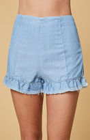 MinkPink Bella Ruffle Denim Hot Shorts