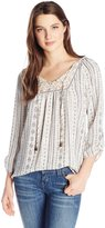 Jolt Women's Printed Georgette with Lace Yokes and Ethnic Ribbon Trim
