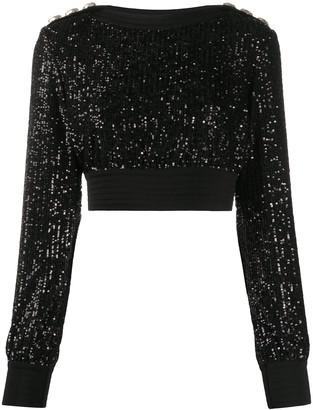 Balmain Sequinned Cropped Sweatshirt