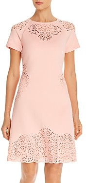 T Tahari Laser-Cut Short-Sleeve Dress