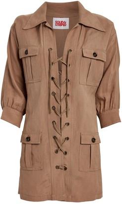 Solid & Striped Linen-Blend Lace-Up Safari Dress