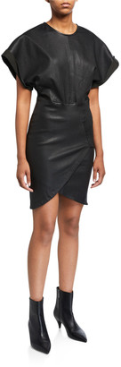 IRO Oterma Dolman-Sleeve Leather Dress