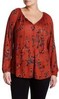 Lucky Brand Printed Knit Mixed Top (Plus Size)