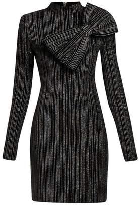 Balmain Striped Lurex Cotton-blend Mini Dress - Womens - Black Silver