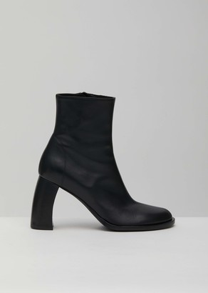 Ann Demeulemeester Curved Heel Leather Ankle Boots